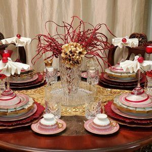3 PIECE DINNERWARE  THEODORE HAVILAND-RED MOSAIC